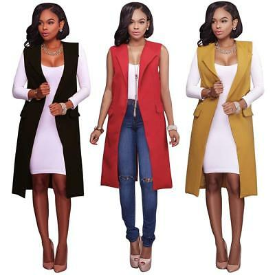 Women Sleeveless Waterfall Cape Lapel Long Cardigan Jacket Waistcoat Vest SS