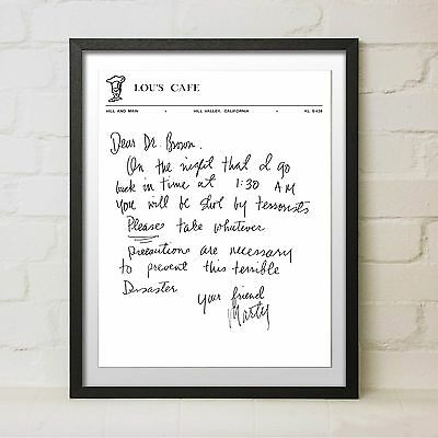 Framed Back to the Future Movie Gift Marty McFly Letter to Doc Brown Flux Prop