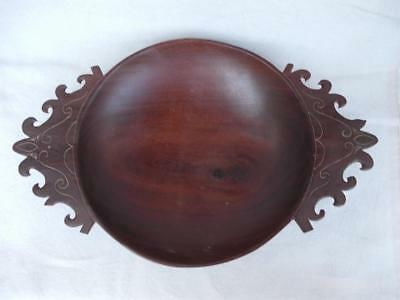 419 / Lovely Late 19Th Century Hand Carved Wooden Bowl With Ornate Handles