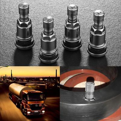 4pcs Bolt-in Stainless Steel Car Motorcycle Wheel Tire Valve Stems w/ Dust Caps