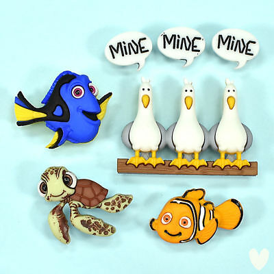 DISNEY Finding Nemo 7723 Dress It Up Buttons -  Fish Turtle Seagulls