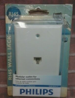 Philips Wall Jack Modular Outlet For Ehernet Connections 8 Conductor RJ45