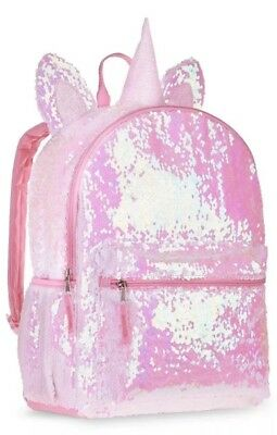 "Pink Unicorn 2-Way Sequins Critter 16"" Backpack School Book Bag Tote NEW!!"