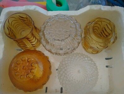 Vintage Retro Glass Ceiling Light Shades Clear Amber patterned shades x 5