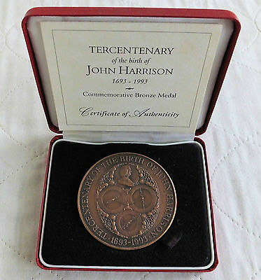 1993 ROYAL MINT 63mm JOHN HARRISON TONED BRONZE MEDAL - boxed/coa