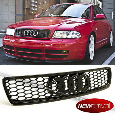 For 96-01 A4 S4 B5 Euro RS4 Style Black ABS Honeycomb Semi Glossy Grill Grille
