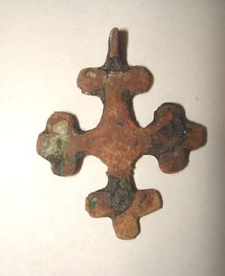 Ancient Jerusalem Israel ROMAN-BYZANTINE BRONZE CROSS ORNATE!  400AD