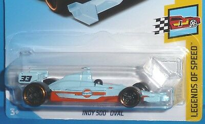 2018 HOT WHEELS Indy 500 Oval Car #33 Gulf Racing 5/9 Legends of Speed #123/365