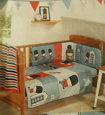 Baby Bedding Set Cot Cotbed 3 Pcs Coverlet,bumper,jersey Fitted Sheet Rrp £45