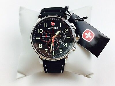 Wenger Attitude Luminous Dial Chronograph Watch 43mm Leather Strap & Face Black