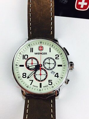 Wenger Attitude Luminous Dial Chronograph Watch - 43mm Brown Leather Strap White