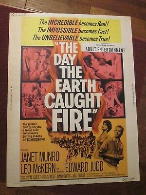 The Day The Earth Caught Fire -  Original 30 x 40   Movie Poster -