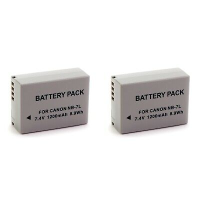 2x NB-7L NB7L Camera Battery for Canon PowerShot G12 G11 G10 SX30 IS