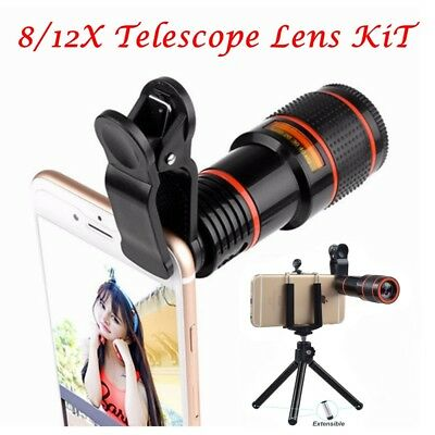 HD 8/12X Optical Zoom Camera Telescope Lens With Clip For Universal Mobile Phone