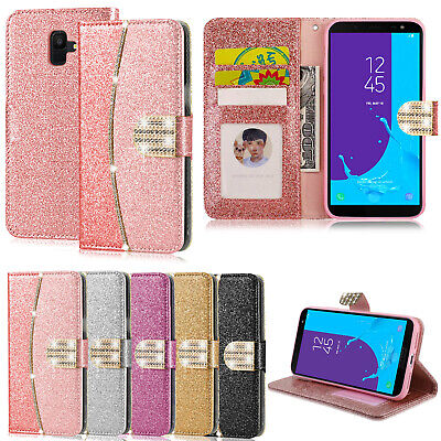 Case For Samsung Galaxy J6 2018 Luxury Flip Leather Wallet Glitter Bling Cover