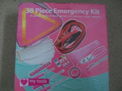 NEW Ladies 30 piece emergency kit for driver, cables, triangle, fuses,pliers