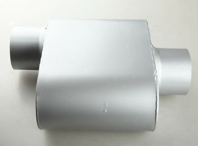 Aluminized Steel Chamber Race Muffler 2.5 inches Center In//Out Black 211815