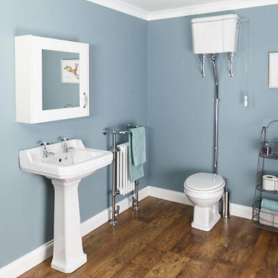 Traditional Cloakroom Suite High Level Toilet WC 2TH Basin Sink Full Pedestal