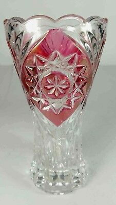 Red Overlay Crystal Glass Vase