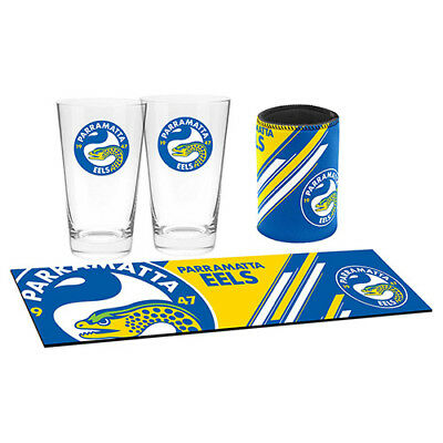 Parramatta Eels NRL Bar Essentials Gift Set - Bar Runner, Can Cooler, Glasses