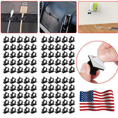 100x Cable Wire Clips Cord Management Wire Holder Organizer Clamp Self Adhesive