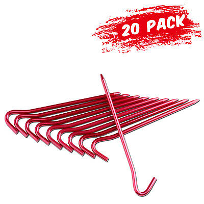 20Pcs 7075 Aluminum Tent Stakes Ultralight Hook Nail Tent Rust-Free Pegs Spikes
