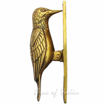 "7"" Gold Bird Brass Antique Door Knocker Metal Sculpture Hardware Wall Art"