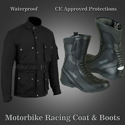 Men Motorbike Long Coat with Black Real Leather Shoes Waterproof CE Approved