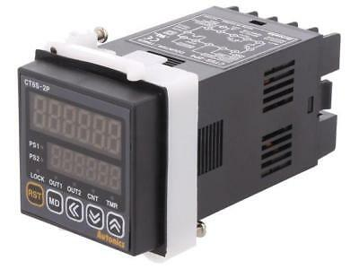 CT6S-2P4 Counter electronical 2x LED time/pulses SPST Cutout45x45mm  AUTONICS