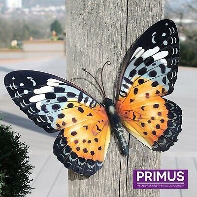Primus Large Metal Butterfly - Orange Garden Wall Art Ornament Indoor / Outdoor
