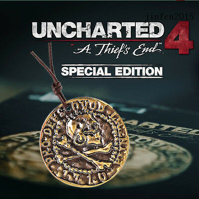 Uncharted 4 A Thief's End Drake's Necklace Pendant Skull Gold Coin keychain Gift