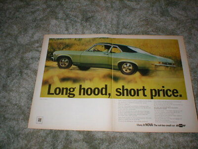 1968 Chevrolet Nova SS  Coupe Car ad  2 pg original