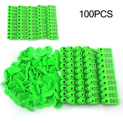 100 x Sheep Goat Pig Cattle Cow Livestock Animals Ear Number Tag 001-100 51*17mm