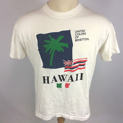 863d64c475d Vintage 80s Thin United Colors of Benetton Flag Hawaii Surf Map White T  Shirt