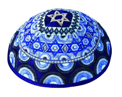 Jewish Kippah with Embroidered Star of David - Made in Israel - Blue & Silver