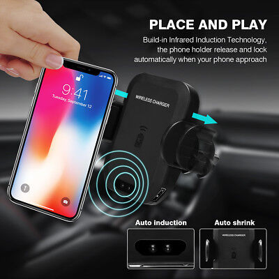 Universal Qi Wireless Car Charger Charging Air Vent Holder Mount For Cell Phone