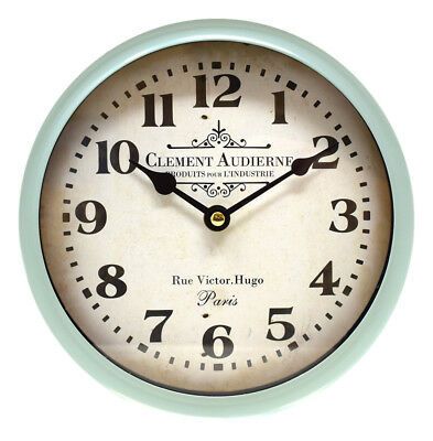 NEW Sage Green Wall Clock Industrial Deep Case Metal Vintage Retro French Quartz