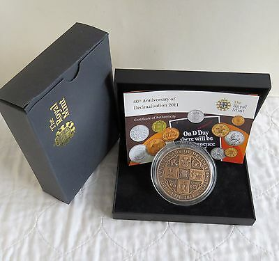 2011 ROYAL MINT 40th ANNIVERSARY OF DECIMALISATION 63mm BRONZE MEDAL - boxed/coa
