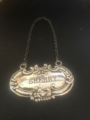 """Vintage Wallace Sterling Silver """"Sherry"""" Liquor Tag Label For Decanter"""
