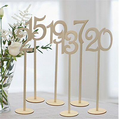 1-20 Wooden Table Numbers Set with Base Birthday Wedding Party Decor Gifts QP
