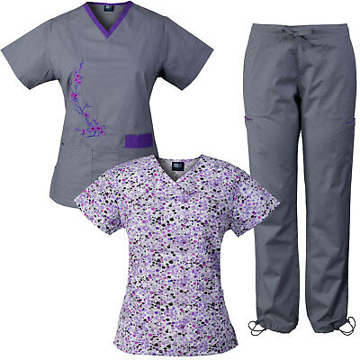 Medgear 3-Piece Stretch Scrubs Set with Embroidery and Printed Top Combo DIGR