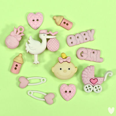 DRESS IT UP Buttons Baby Girl 2121 - Baby Shower Stork Pram Rattle Nappy Pin