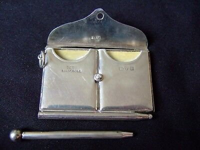 Antique Sterling Silver Large Envelope Double Stamp Holder Fob Case - Chester