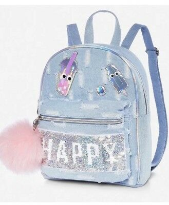 Justice Flip Sequin Mini Backpack Denim Brand New! ❤️❤️❤️