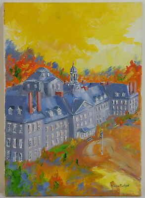 "Vintage Oil Painting on Canvas Building Cityscape Unframed Art (21"" x 15"")"