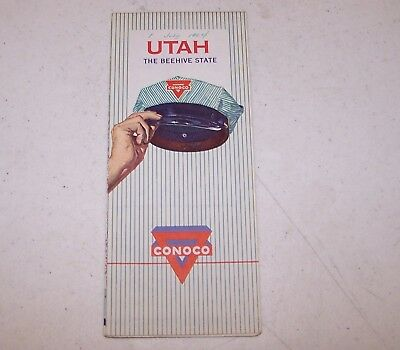 1960 Conoco Utah The Beehive State Map