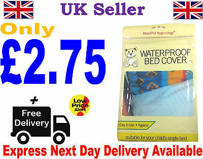 Child Kids Waterproof Single Bed Cover Sheet Cot Bed White Mattress Protector