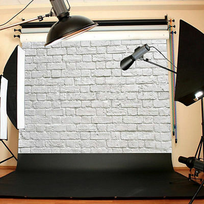 3x5ft Pure White Brick Wall Photo Backdrop Muslin Studio Props Photography Decor