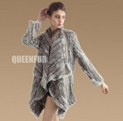 Womens Real Mink Fur Knitted Jacket Cape Coat Poncho Warm Outwear Casual Fashion
