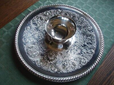 "Vintage Wm Rogers Silverplate Chip & Dip Serving Set 12"" Tray & Bowl Dish #866"
